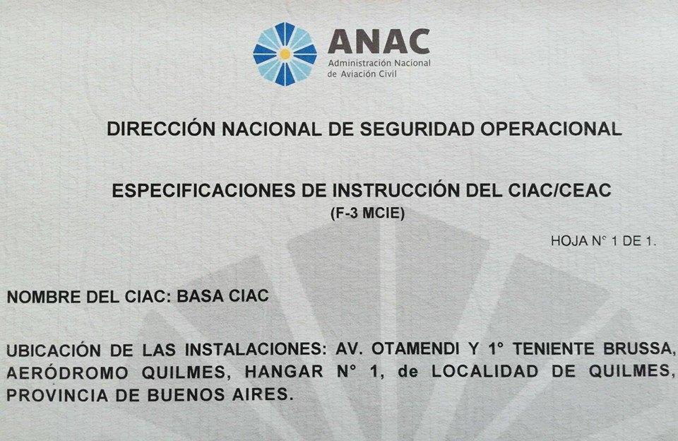 BASA CIAC Certificada RAAC 141